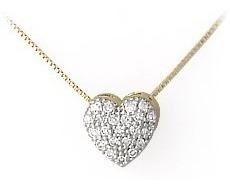 Pingente Coração De Ouro 18k + Diamante Naturai + Cordão G02