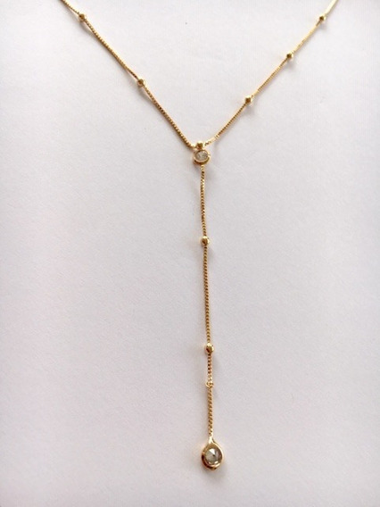 Pingente C/corrente Banhado Ouro Bolinhas E Zircônias 4436