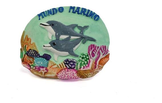 Imán 2 Delfínes De Cerámica Mundo Marino