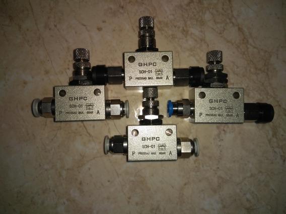 Regulador De Fluxo Pneumático (4peças) Com Conectores De 6mm