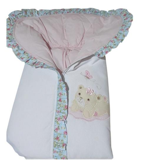 Porta Bebê Saco De Dormir Floral Azul E Rosa Ursinha Borbole