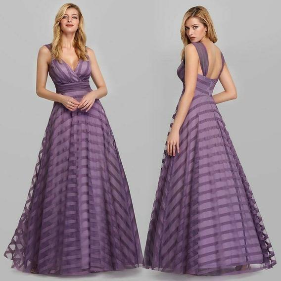 Elegante Vestido Fiesta Largo Tul Lila Importado
