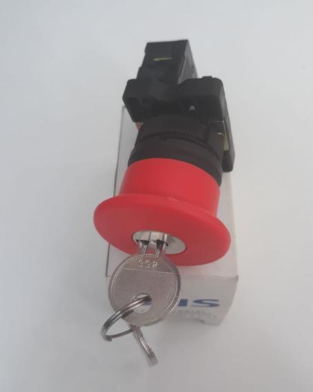 Botão Emergencia Cogumelo C/ Chave 40mm
