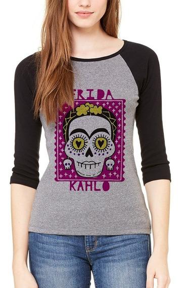 Playera Frida Kahlo Mexico Calavera Raglan #400