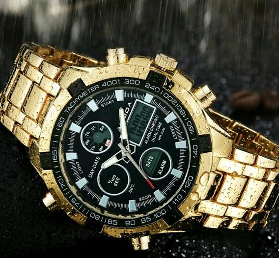 Relógio Masculino Amuda Original Dourado Prata Promoção