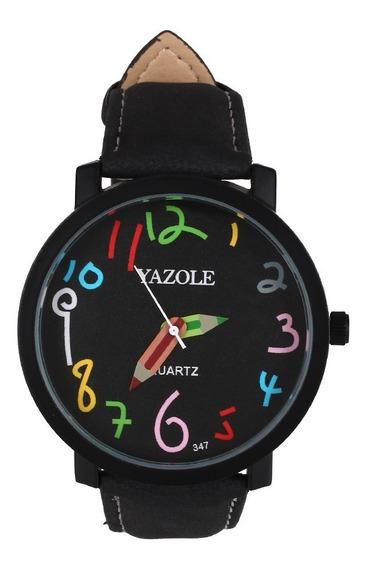 Relógio Yazole 347 Colorido Pulseira Couro Sintético Barato