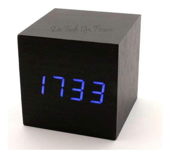 Relógio Wooden Clock Led Bloco De Madeira Promoção!