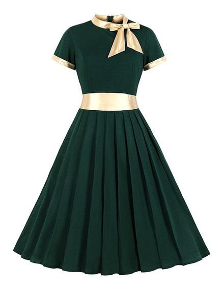 Vestido Plisado Vintage Para Las Mujeres S-3xl