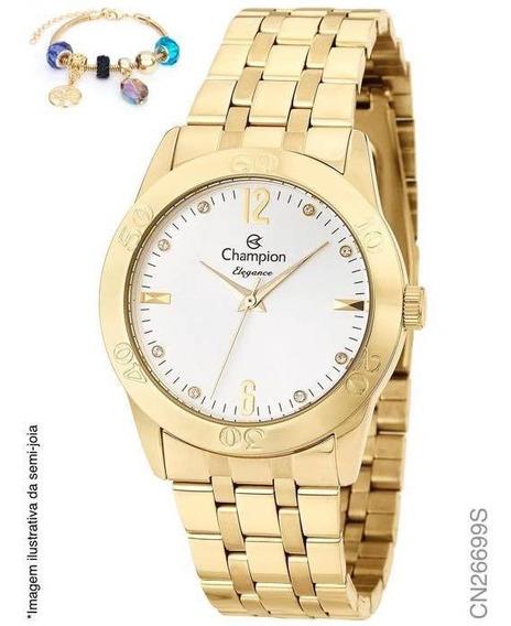 Relógio Feminino Dourado Champion Cn26699s + Pulseira