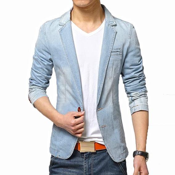 Blazer Jeans Casual Slim Fit Masculino