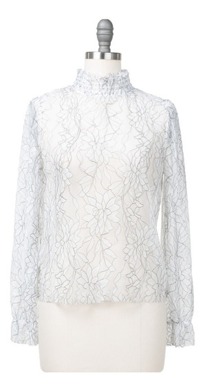Blusa Tul Transparente Floral Cuello Alto Manga Larga Fresca