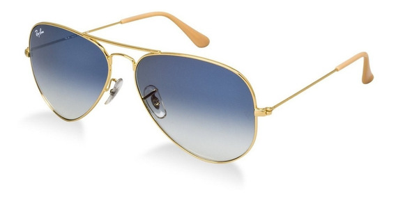 Ray-ban Aviador Rb3025 Dourado Com Azul Degrade Original