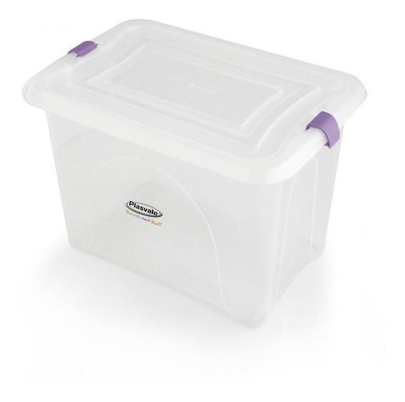 Caixa Organizadora Com Travas 25l Branco 41,7x28,5x33,5cm 1 Un Plasvale