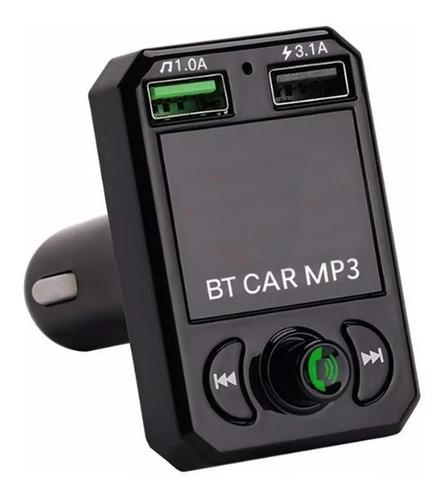 Imagen 1 de 7 de Manos Libres Bluetooth Y Transmisor Radio Fm 2 Puertos Carga Rapida Usb 3.1a Entrada Para Memoria Sd Para Auto