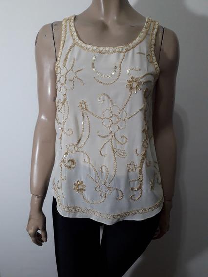 Mix Couture Blusa Gasa Crudo Bordada En Dorado Talle S Impec