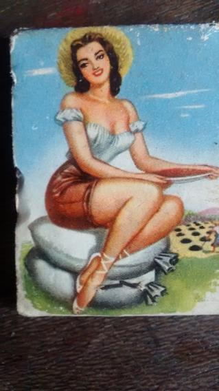 Caixa De Fósforos Com Pin Up Década De 1950