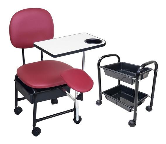 Cadeira Manicure Cirandinha Com Suporte E Cm2 Bordô Facto