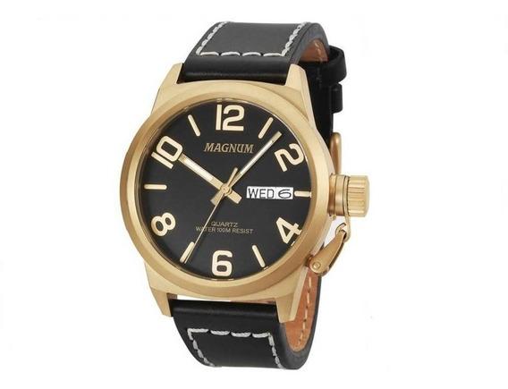 Relógio Magnum Analógico Masculino Dourado Couro Ma33406p