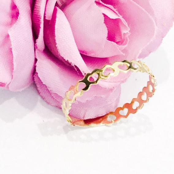 Anel Coração Corações Em Ouro 18k Noivado Namorado À Vista