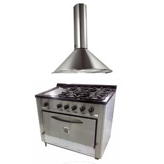 Combo Cocina Depaolo 90cm 4h + Plancha + Campana Circular