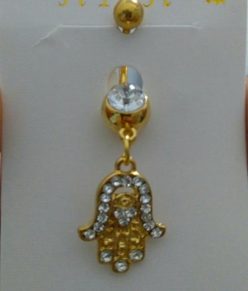 Piercing De Umbigo Folheado Em Ouro 18k