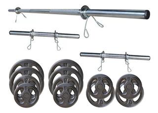 Kit 40kg De Anilhas + 3 Barras Cromadas Para Musculação