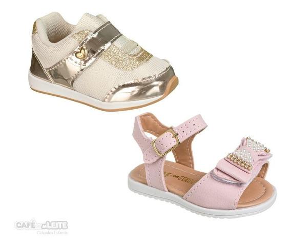 Kit Baby Sandalia+tênis Infantil Menina (2 Pares)