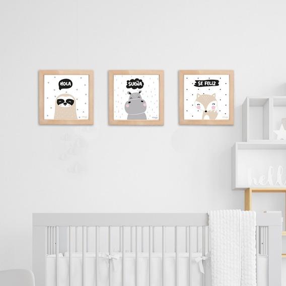 Cuadros Decorativos Infantiles Animalitos Nordicos Frases