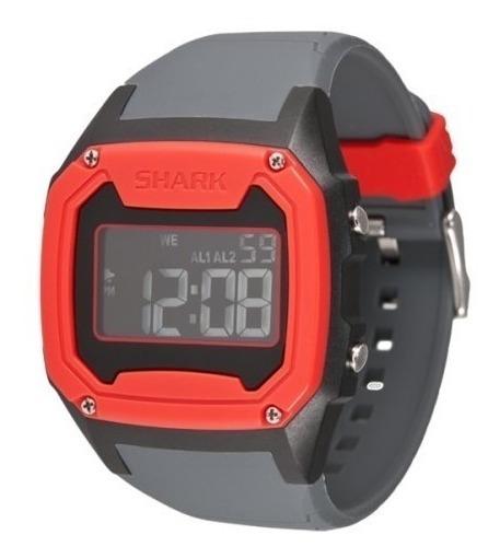Relógio Pulso Killer Shark Silicon Cinza Vermelho Freestyle