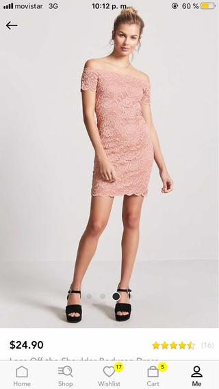 Vestido Forever 21 Talla L, Color Rosa Pálido