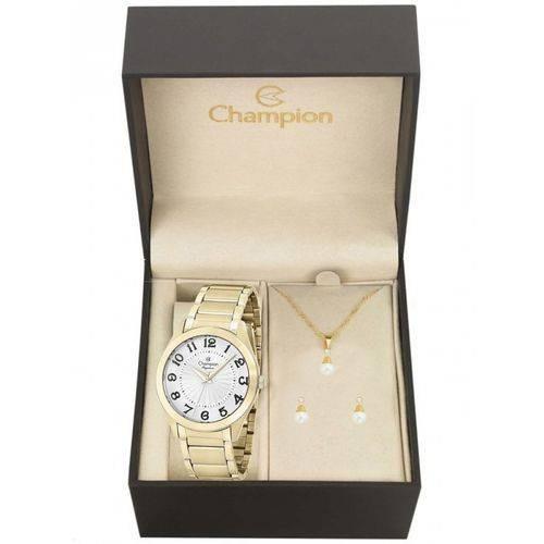 Relógio Champion Feminino Cn25029w + Kit Bijuteria