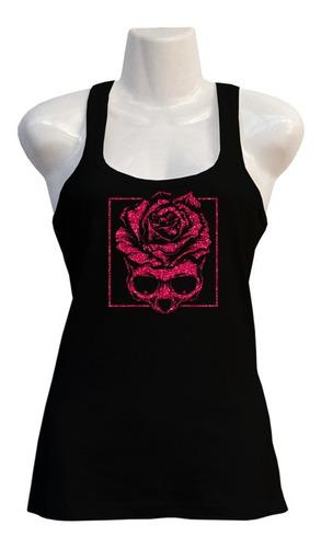 Imagen 1 de 1 de Polera Roses Skull - Deportiva - Stencil - Glitter - Regalo
