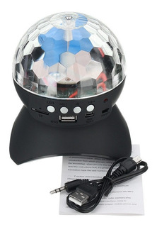 Parlante Bluetooth Usb Sd Esfera Bola Espejos Luces