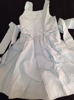 Vestido De Festa Azul Menina Tam 6 Tafetá De Seda Novo