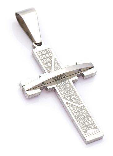 Pingente Crucifixo P/ Corrente Aço Inox J-321 Prateado
