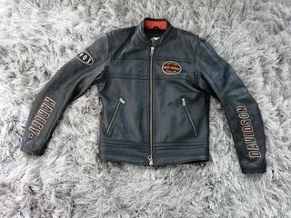 Chamarra Cuero Piel Motocicleta Harley Davidson Chopper Negr