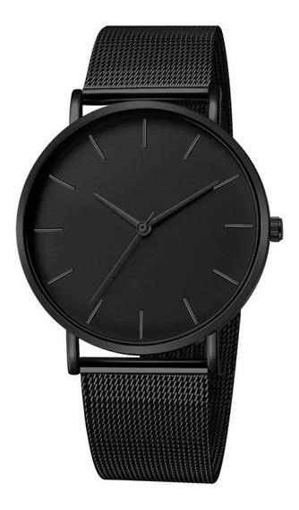 Relógio Masculino Luxuoso De Malha Ultrafina Aço Inoxidável