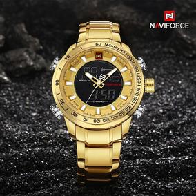 Relógio Luxo Naviforce Dourado Original Top De Linha