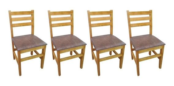 Kit 4 Cadeiras De Jantar Camboriú Fixa Estofada Em Madeira