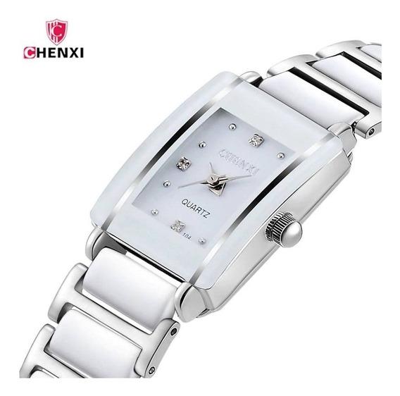 Relógio Feminino Simples Elegante Pequeno Prata Aço Inox