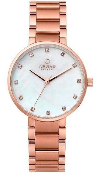 Reloj Obaku V189lxvwsv Acero Oro Rosa-blanco Para Dama