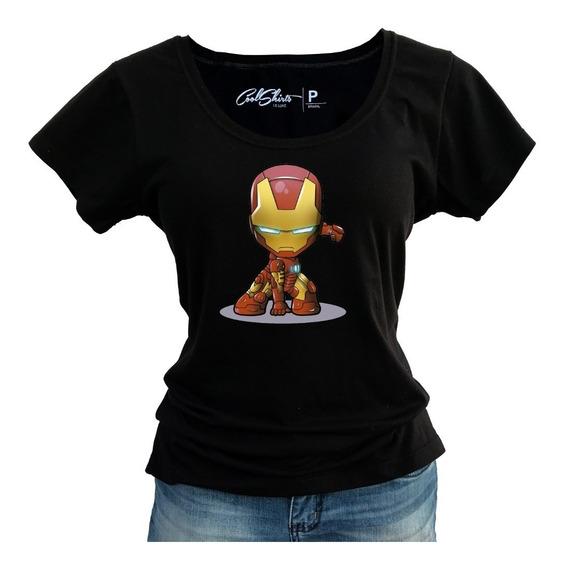 Kit Com 2 Camiseta Baby Look Homem De Ferro Capitão América