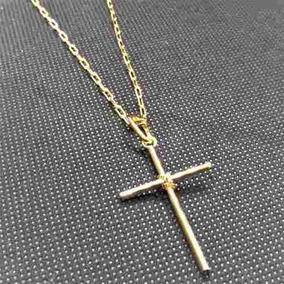 Corrente Masculina Cordão 80cm 2mm Crucifixo Folheado Ouro
