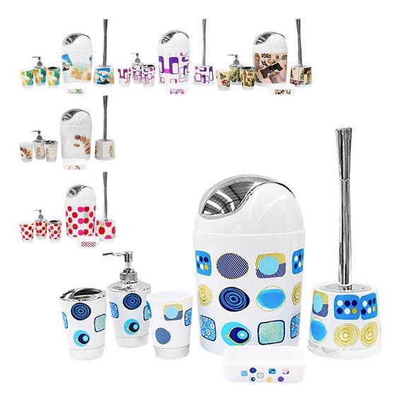 Kit Banheiro Decoração Lavatório 6 Peças Saboneteira Lixeira