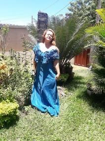 Vestido Tafeta Festa Longo Azul Turquesa Tamanho G