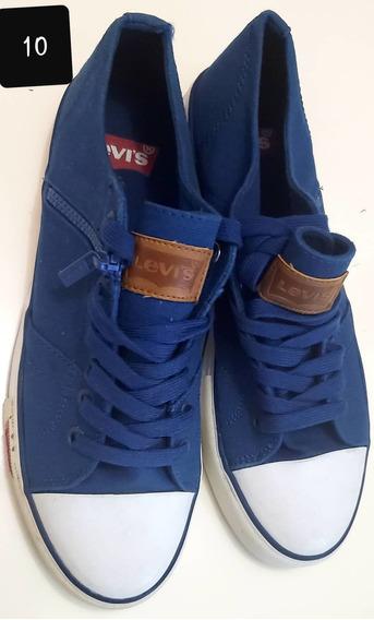 Zapatos Azul Jean Levis Hombre Talla 10 Casuales Americano