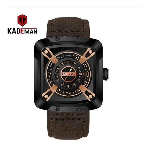 Relógio Kademan Pulseira Em Couro Marrom Escuro