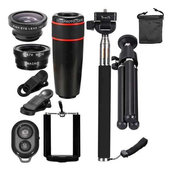Universal 10 Em 1 Lente Telefone Câmera Telescópio Clipe Cel