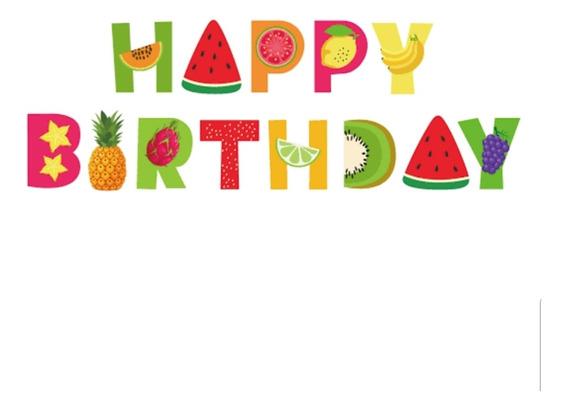 Letrero/banderín Happy Birthday Frutas