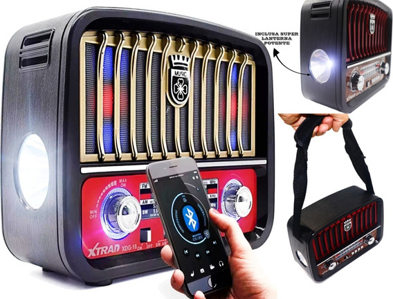 Caixa Som Rádio Retrô Lanterna Vintage Bluetooth Fm Am Mp3